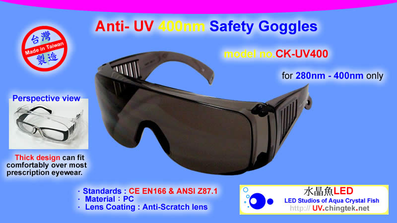 CK-ST001 - Anti- UV 365nm Safety goggles - UV LED light wiht Hi-Power LED (UVA 400nm / 365nm ) - UV.Chingtek.net