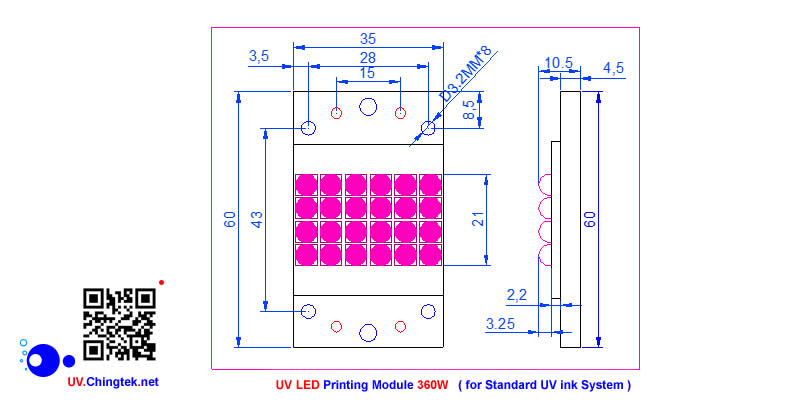 UV LED ultraviolet Printing module/lamp - 360W for Standard UV ink System - 80m to 120m / min. (UVA 365nm-385nm )