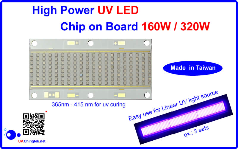 High power ultraviolet UV LED COB chip on board 300W up 365nm 385nm 395nm 405nm - 160W G2 Ultimate - UV.Chingtek.net
