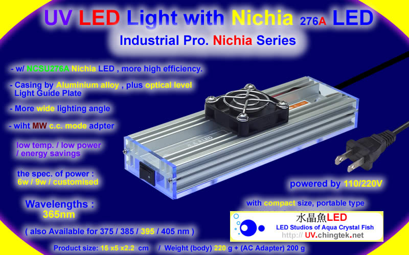 UV LED light with High Power LED module UVA UVB UVC 275nm 365nm 375nm 385nm 405nm For Industrial UV curing system / printing / adhesive curing - Nichia - UV.Chingtek.net