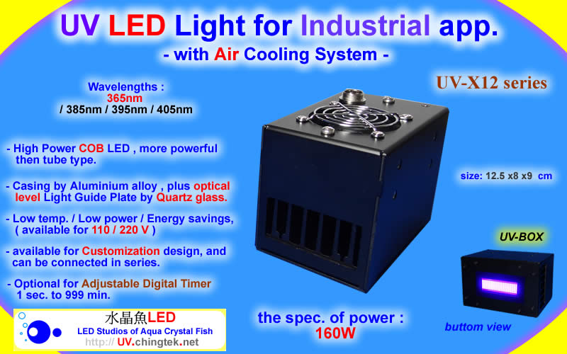 UV LED light for Industrial app. (UVA 395nm / 365nm ) with Air Cooling System - 160W - UV.Chingtek.net