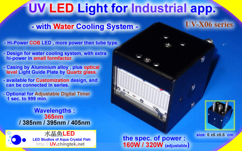 UV LED Light For Industrial App. (UVA 395nm / 365nm ) With Water Cooling