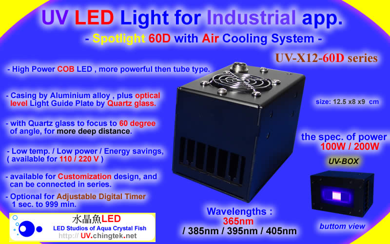 UV LED Lamp Module - Spotlight 60D (UVA 365nm-405nm )with Air Cooling System
