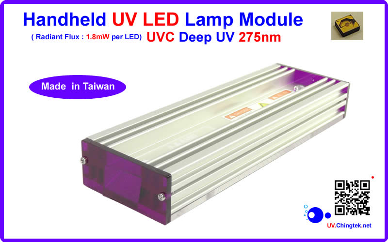 UVC deep UV LED ultraviolet light Handheld module/lamp - Industrial Pro. SVC Series (UVC 275nm) For Industrial Diagnostic & Inspection / Fluorescence check - UV.Chingtek.net