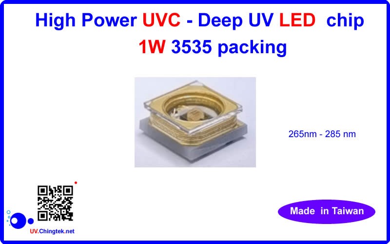 High power UVC - Deep UV LED chips 1W ( 3535 packing )( 265nm - 285nm ) - UV.Chingtek.net